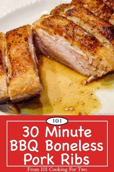Moist and tasty country style BBQ boneless ribs in only 30 minutes. A little pan searing, coat with BBQ sauce and finish in the oven.