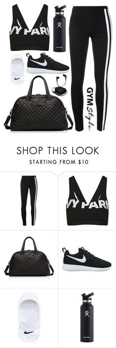 """""""Totally Black Gym 🌑"""" by syifasalz ❤ liked on Polyvore featuring Y-3, Topshop, M Z Wallace, NIKE, Hydro Flask and iWorld"""