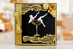 tattered lace art deco die lady in champagne glass Art Deco Cards, Crafters Companion Cards, Tattered Lace Cards, Lace Art, Handmade Birthday Cards, Handmade Cards, Girly, Nouvel An, Vintage Greeting Cards