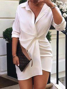 Solid Scrunch Long Sleeve Shirt Dress