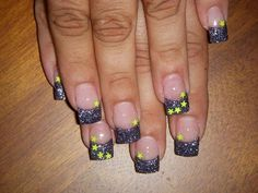 Greyish glitter french with yellow stars Nails - Nail Art