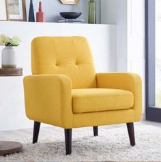 OAH Lilola roseann wrought studio yellow linen like fabric retro modern accent side chair Yellow Dining Chairs, Yellow Accent Chairs, Small Accent Chairs, Side Chairs, Living Room Accents, Accent Chairs For Living Room, Turquoise Sofa, Mid Century Modern Armchair, Modern House Design