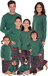 PajamaGram Red and Green Plaid Matching Family Christmas Pajamas Green Men 's Large
