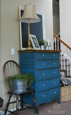 "Tallboy dresser painted with Annie Sloan's Aubusson Blue Chalk Paint and clear/dark waxed. Painted by ""The Splattered Smock"" www.facebook.com/TheSplatteredSmock"