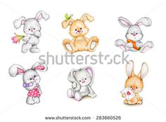 Set of cute bunnies
