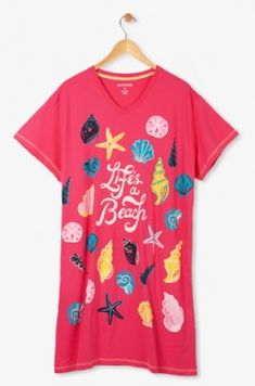 """Hatley Nature """"Life's A Beach"""" Women's Nightshirt in Red"""