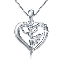 """Dancing Girl Pendant Diamond 18k White Gold Finish 925 Silver With 18"""" Chain…"""