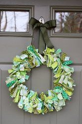 Use your fabric scraps to create this shabby chic #wreath. Choose colors to match a particular #holiday, like St. Patrick's Day!