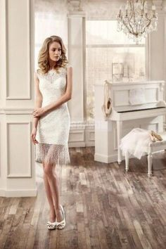Sleeveless Sheath/column Tassels Lace Buttons Reception Wedding Dress
