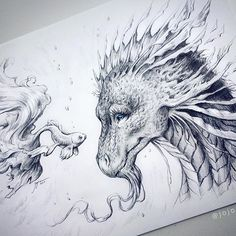 """Magical Encounter"" - if we stop being fascinated by the seemingly ordinary, we cease to experience the everyday magic life offers us.  A sketch I did yesterday :D A dragon again! Wohoo :D  If you are interested in purchasing the original artwork, you can get it in my etsy shop (link in my bio) ❤️ Thank you so much for your love! 🙌🏻 #art #arte #draw #drawing #dragon #fish #artist #sketch #art_helps #arts_gallery #arts_help #art_spotlight #worldofartists #worldofpencils #fantasy #fantasyart…"