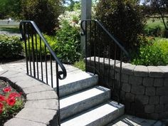 Creative DIY Deck Railing Ideas & Designs for Inspiration Exterior Stair Railing, Garden Railings, Outdoor Stair Railing, Front Porch Railings, Wrought Iron Stair Railing, Stair Handrail, Deck Railings, Railing Ideas, Metal Handrails