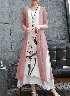 Casual Lotus Printed Two-Piece Maxi Dress - Herren- und Damenmode - Kleidung Casual Dresses, Fashion Dresses, Maxi Dresses, Casual Clothes, Hijab Fashion, Cotton Dresses, Dress Outfits, Casual Outfits, Mode Hijab
