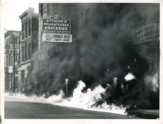 A kerosene fire burns along Lombard Street amidst the #BaltimoreRiots, April 8, 1968. The immediate cause of the rioting was the assassination of Dr. Martin Luther King, Jr. on April 4.  Source: Hearst Corporation