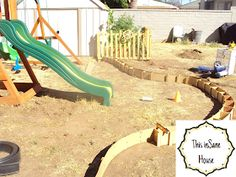 This inSane House: DIY Concrete Edger or Retaining Curb Concrete Landscape Edging, Concrete Edger, Concrete Curbing, Concrete Tools, Landscape Borders, Concrete Mixers, Diy Concrete, Garden Projects, Home Projects