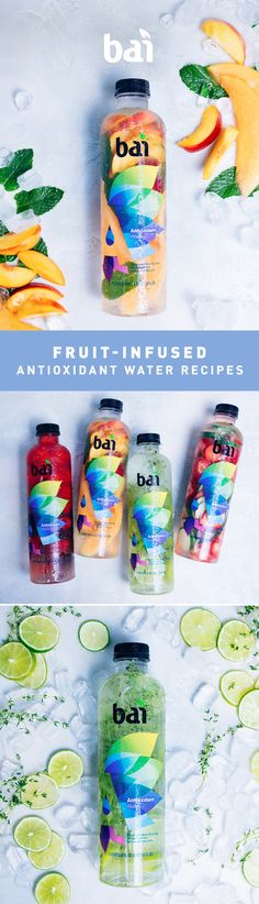 5 Fruit infused water recipes made with Bai Antioxidant Water Looking for new fruit-infused water recipe ideas? Simply add fruit and herbs to Bai for an antioxidant-rich, healthy way to stay hydrated. Smoothie Drinks, Detox Drinks, Healthy Drinks, Healthy Cooking, Healthy Snacks, Healthy Eating, Healthy Recipes, Smoothies, Infused Water Recipes