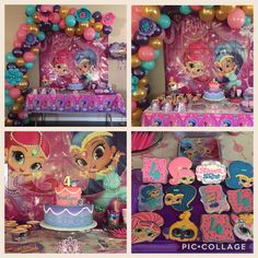 Shimmer and Shine Birthday Party cookies banner balloon arch genie