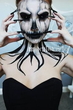 27 Ideas Makeup Looks Halloween Scary Art Halloween, Looks Halloween, Cool Halloween Makeup, Halloween 2018, Diy Halloween Costumes, Halloween Cosplay, Costume Ideas, Halloween Pumpkin Makeup, Halloween Contacts
