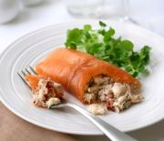 Smoked Salmon Paupiettes crammed with crab and lobster - an indulgent lunch for two