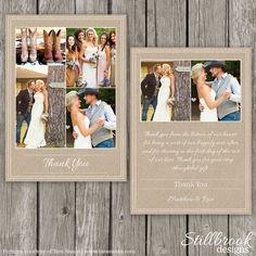 Hochzeit Danke Card Template Kraft rustikale von StillbrookDesigns