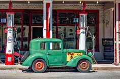 1940 Bantam Coupe - 2.  Found at an old fashioned gas station on a West Virginia highway. About 6,000 Bantams were produced in Butler PA from 1937 through 1941. It was the inspiration for Donald Duck's car. Note the windup key on the spare tire.