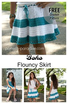 Free Crochet Pattern: Boho Flouncy Skirt | Pattern Paradise for a 2 to 12 year old.