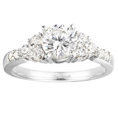 Traditional Three Stone .76ctw Prong Set  Cubic Zirconia w/a