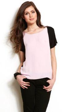 Armani Exchange Womens Colorblock Asymmetrical Top