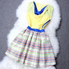 Free Shipping Ladies Short Mini Dress Dots Pattern Sleeveless Tank Women Dress Female Actual Summer Dress S/M/L $59.30