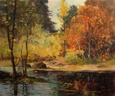 The Truckee River and the colors of Autumn as painted by George S Bickerstaff, 20x24 Oil on Canvas