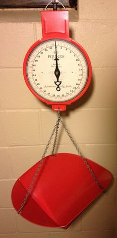 hanging scale in red