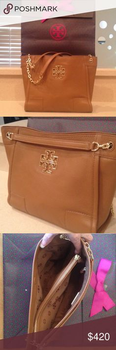 Tory Burch Tote Tory Burch Britten Tote. Leather Magnetic closure. Center zipper compartment, flat leather and chain double straps with 8.76 drop when doubled. Wear on shoulder or cross body. Color: bark Length;11.75 Height 9.56 Depth 4.78 Tory Burch Bags Crossbody Bags