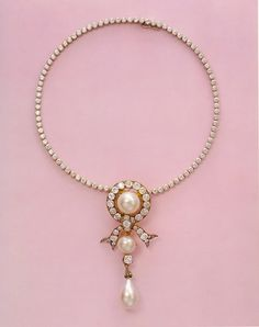 A diamond and pearl necklace that belonged to Empress marie Feodorovna of Russia. The necklace was later signed by Cartier.
