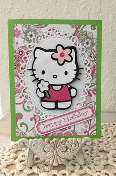 Hello Kitty Card / Made with Spellbinders Floral Ovals, Cricut Hello Kitty Cartridge and Tim Holtz Stamp/ Die Set / Handcrafted By Cindy Babich (Cindyswishestogive) 2016