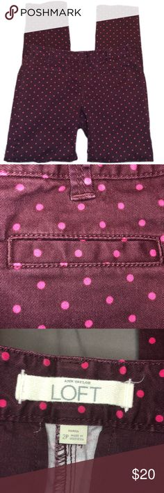 Ann Taylor Loft 2P Purple Dot Pants These are so cute! Dark purple with pink/lighter purple dots. So soft to the touch! Size 2P, measures 15 inches across the waist and 28 inch inseam.  Comes from a cat friendly, smoke free home. Items are kept in a room the cats can't access.  I ship daily Monday-Friday! Reasonable offers are always welcome. LOFT Pants