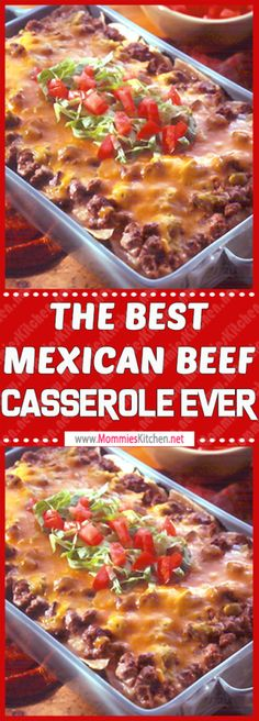 This The best Mexican Beef Casserole Ever is the most comforting of all Easy Dinner Recipes. It is warm, delicious, filling, irresistible and easy to prepare. It is the perfect Easy Dinner Meals! Mexican Dishes, Mexican Food Recipes, Healthy Recipes, Organic Recipes, Snack Recipes, Mexican Meals, Lamb Recipes, Easter Recipes, Free Recipes