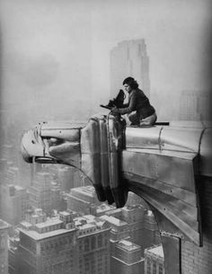 MARGARET BOURKE-WHITE on the edge of the Chrysler Building doing what she did best... creating art through documenting the world around her.