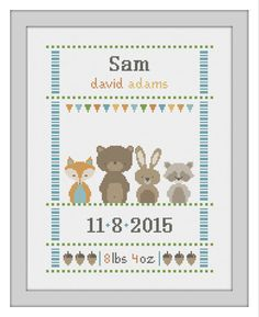 cross stitch baby birth sampler birth announcement woodland