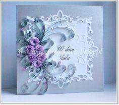 sliver wedding quilling card