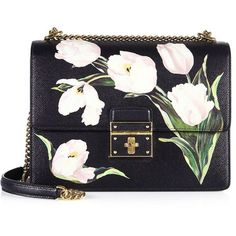 Dolce & Gabbana Rosalia Large Tulip-Print Leather Chain Shoulder Bag ($2,885) ❤ liked on Polyvore featuring bags, handbags, shoulder bags, purses, bolsos, apparel & accessories, white tulip, white handbags, hand bags and leather shoulder handbags