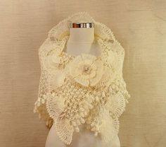 Queen of Sheba / Ivory Shawl Crochet Wedding Shawl by lilithist, $145.00