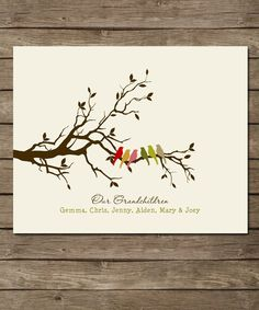 Personalized Grandparents Christmas Gift, Gift for Grandma and Grandpa- Family Tree with birds and n Beautiful unique gift for grandma or grandparents with birds representing the grandchildren. Printed on archival paper(w. Great Grandma Gifts, Grandpa Gifts, Grandparents Christmas Gifts, Grandmother Birthday, Family Tree Art, Anniversary Gifts For Parents, 10 Anniversary, Customized Gifts, Wall Art Prints