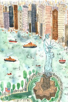 clare caulfield, new york, statue of liberty, city scape drawing