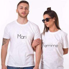 "T-shirt couple ""Mari / Femme"" Couples Assortis, T-shirt Couple, Pyjamas Assortis, Prince Charmant, Couple Tshirts, Husband, T Shirts For Women, Princess, Mens Tops"