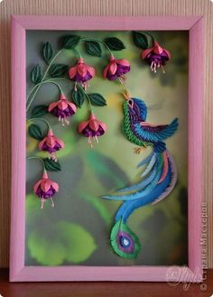 Handicraft product Quilling Paradise bird and fuchsia stripes Quilling Animals, Paper Quilling Patterns, Quilling Paper Craft, Quilling Ideas, Craft Patterns, Hobbies And Crafts, Arts And Crafts, Quilled Creations, Quilling Techniques
