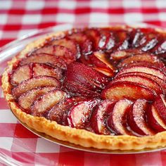 Plum Tart - a simple, easy recipe to make the most of of one of summers sweetest fruits; works well with peaches or nectarines too.