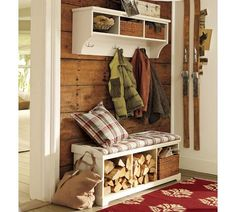 Samantha Entryway Collection | Pottery Barn - I like the wood wall too.
