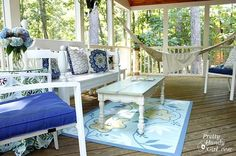 Pretty Handy Girl's screen porch makeover on a super low budget. You won't believe some of the amazing things she MADE!