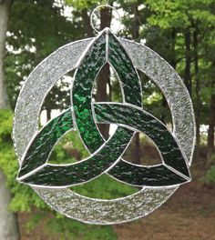 Irish Celtic Knot  Trefoil Stained Glass by HillLillyDesigns