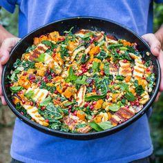 The Ultimate Halloumi, Butternut Squash & Tahini Salad Haloumi Salad, Grilled Halloumi, Veggie Recipes, Salad Recipes, Healthy Recipes, Veggie Dinners, Healthy Lunches, Protein Recipes, Seafood Recipes