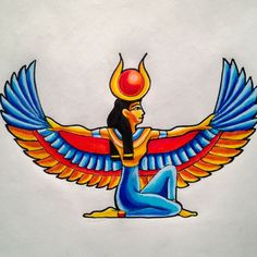 Isis protection stance egyptian pinterest tattoo for Egyptian tattoo flash